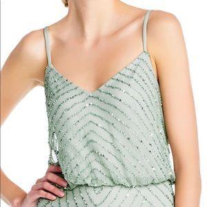 Mint green sequin spaghetti strap maxi dress